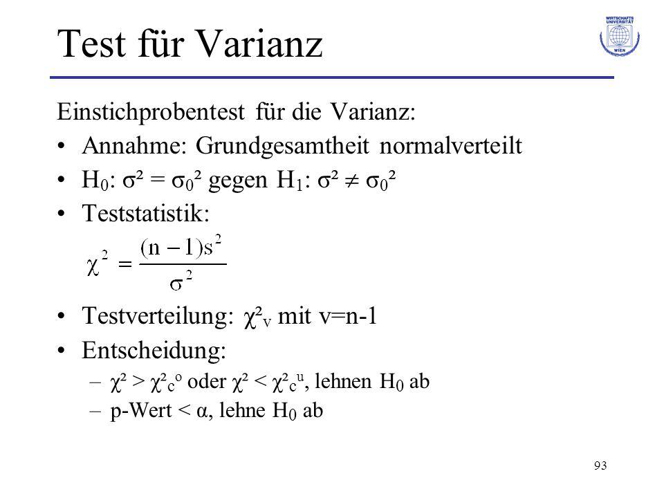 93 Test für Varianz Einstichprobentest für die Varianz: Annahme: Grundgesamtheit normalverteilt H 0 : σ² = σ 0 ² gegen H 1 : σ²  σ 0 ² Teststatistik: Testverteilung: χ² v mit v=n-1 Entscheidung: –χ² > χ² c o oder χ² < χ² c u, lehnen H 0 ab –p-Wert < α, lehne H 0 ab