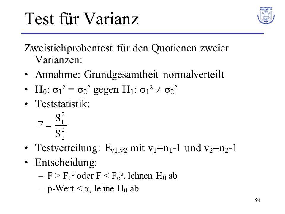 94 Test für Varianz Zweistichprobentest für den Quotienen zweier Varianzen: Annahme: Grundgesamtheit normalverteilt H 0 : σ 1 ² = σ 2 ² gegen H 1 : σ 1 ²  σ 2 ² Teststatistik: Testverteilung: F v1,v2 mit v 1 =n 1 -1 und v 2 =n 2 -1 Entscheidung: –F > F c o oder F < F c u, lehnen H 0 ab –p-Wert < α, lehne H 0 ab