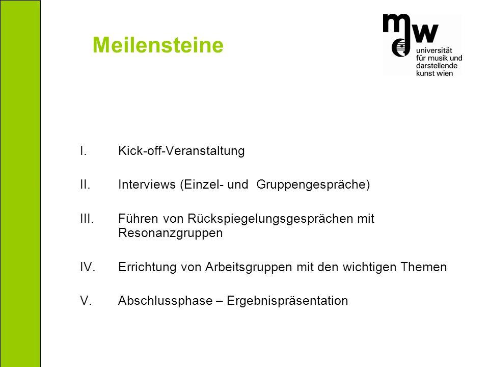 I.Kick-off-Veranstaltung II.Interviews (Einzel- und Gruppengespräche) III.Führen von Rückspiegelungsgesprächen mit Resonanzgruppen IV.Errichtung von Arbeitsgruppen mit den wichtigen Themen V.
