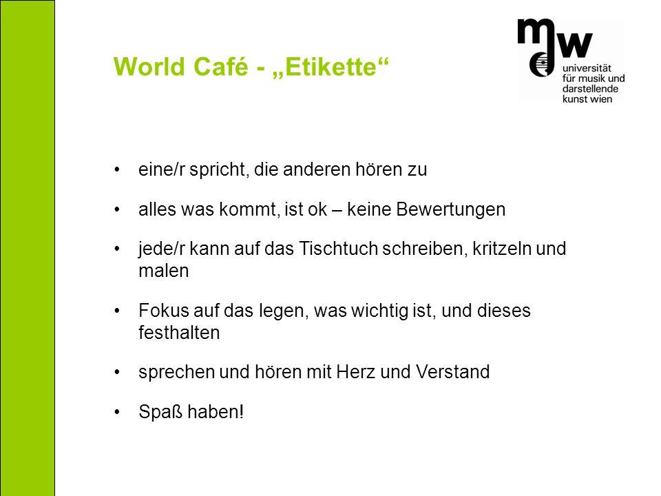 """World Café - """"Etikette"""" eine/r spricht, die anderen hören zu alles was kommt, ist ok – keine Bewertungen jede/r kann auf das Tischtuch schreiben, krit"""
