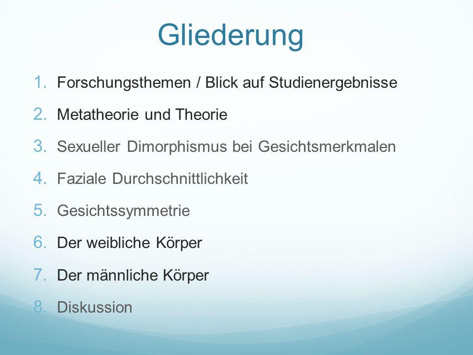 Gliederung 1. Forschungsthemen / Blick auf Studienergebnisse 2. Metatheorie und Theorie 3. Sexueller Dimorphismus bei Gesichtsmerkmalen 4. Faziale Dur
