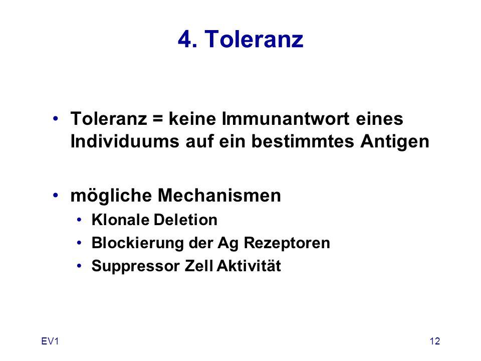 EV112 4. Toleranz Toleranz = keine Immunantwort eines Individuums auf ein bestimmtes Antigen mögliche Mechanismen Klonale Deletion Blockierung der Ag