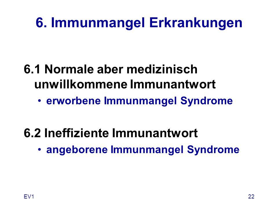 EV122 6. Immunmangel Erkrankungen 6.1 Normale aber medizinisch unwillkommene Immunantwort erworbene Immunmangel Syndrome 6.2 Ineffiziente Immunantwort