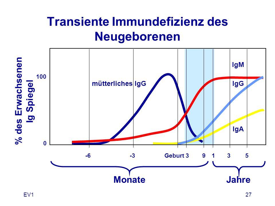 EV127 Transiente Immundefizienz des Neugeborenen % des Erwachsenen Ig Spiegel IgM IgG IgA mütterliches IgG MonateJahre -6-3Geburt39135 100 0
