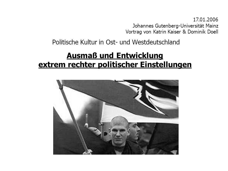 Politische Kultur in Ost- und Westdeutschland 17.01.2006 Johannes Gutenberg-Universität Mainz Vortrag von Katrin Kaiser & Dominik Doell Ausmaß und Entwicklung extrem rechter politischer Einstellungen