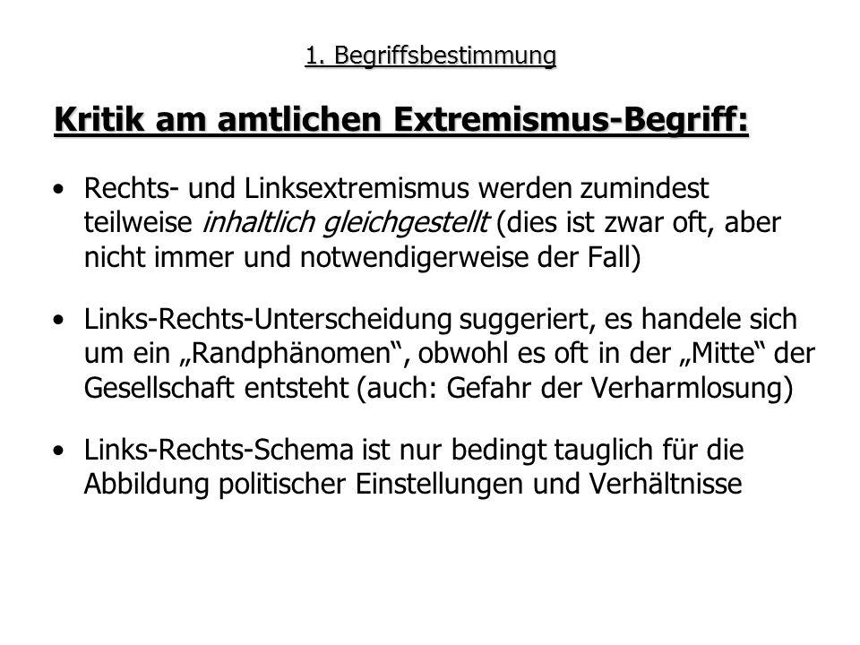 1. Begriffsbestimmung Rechts- und Linksextremismus werden zumindest teilweise inhaltlich gleichgestellt (dies ist zwar oft, aber nicht immer und notwe