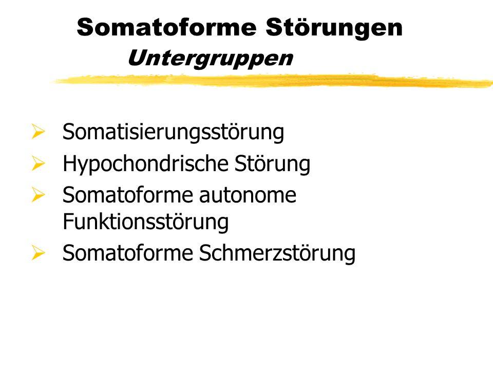 Somatoforme Störungen Untergruppen  Somatisierungsstörung  Hypochondrische Störung  Somatoforme autonome Funktionsstörung  Somatoforme Schmerzstör