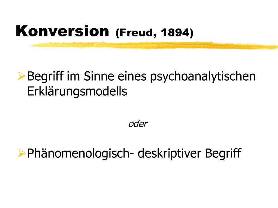 Konversion (Freud, 1894)  Begriff im Sinne eines psychoanalytischen Erklärungsmodells oder  Phänomenologisch- deskriptiver Begriff