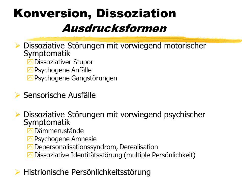 Konversion, Dissoziation Ausdrucksformen  Dissoziative Störungen mit vorwiegend motorischer Symptomatik yDissoziativer Stupor yPsychogene Anfälle yPs