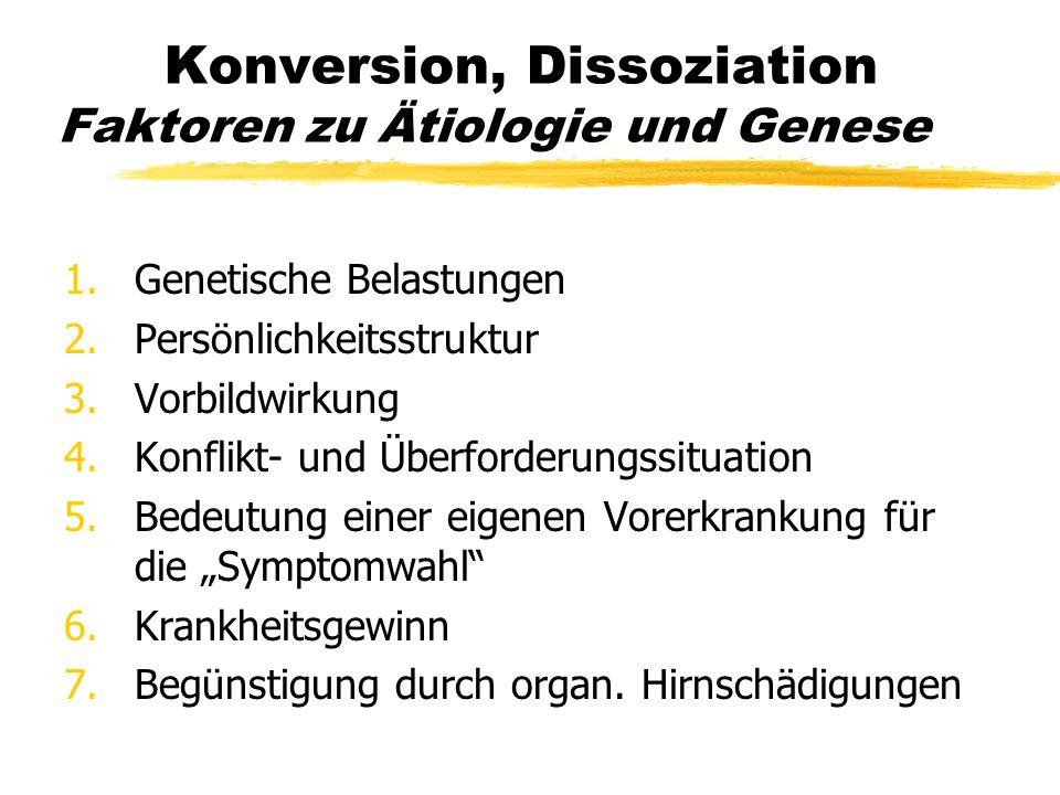 Konversion, Dissoziation Faktoren zu Ätiologie und Genese 1.Genetische Belastungen 2.Persönlichkeitsstruktur 3.Vorbildwirkung 4.Konflikt- und Überford