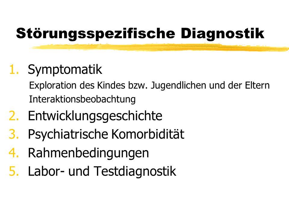 Störungsspezifische Diagnostik 1.Symptomatik Exploration des Kindes bzw. Jugendlichen und der Eltern Interaktionsbeobachtung 2.Entwicklungsgeschichte