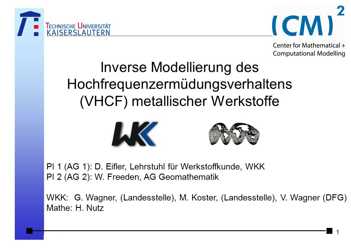 Inverse Modellierung des Hochfrequenzermüdungsverhaltens (VHCF) metallischer Werkstoffe Klausur- und Strategietagung am 6./7.2.2009, Wartenberger Mühl