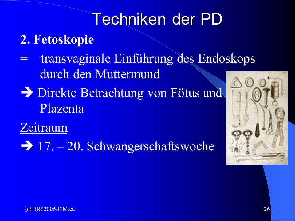 """(c)+(R) 2006/FJM.eu25 Techniken der PD Ziele  Wahrscheinlichkeitsberechnung für Neuralrohrverschlussstörungen  Wahrscheinlichkeitsberechnung für Chormosomenveränderung (""""störungsanfällig )"""