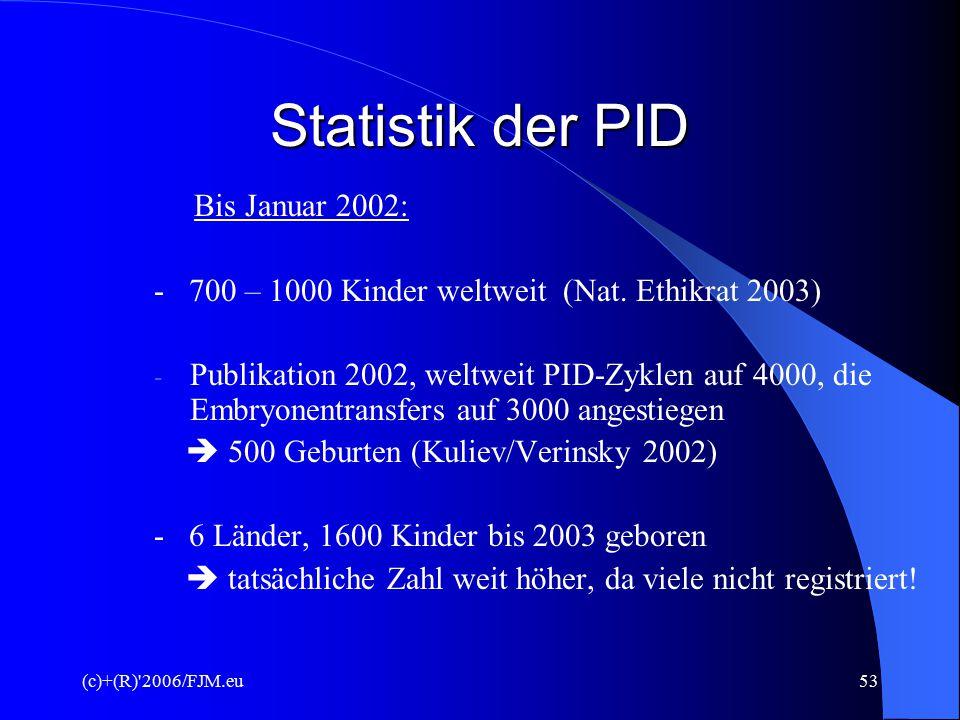 (c)+(R) 2006/FJM.eu52 Statistik - PID 1999 bis Mai 2001 (ESHRE-Konsortium) - 25 Zentren in Europa und den USA - 279 Kinder nach PID zur Welt gek.