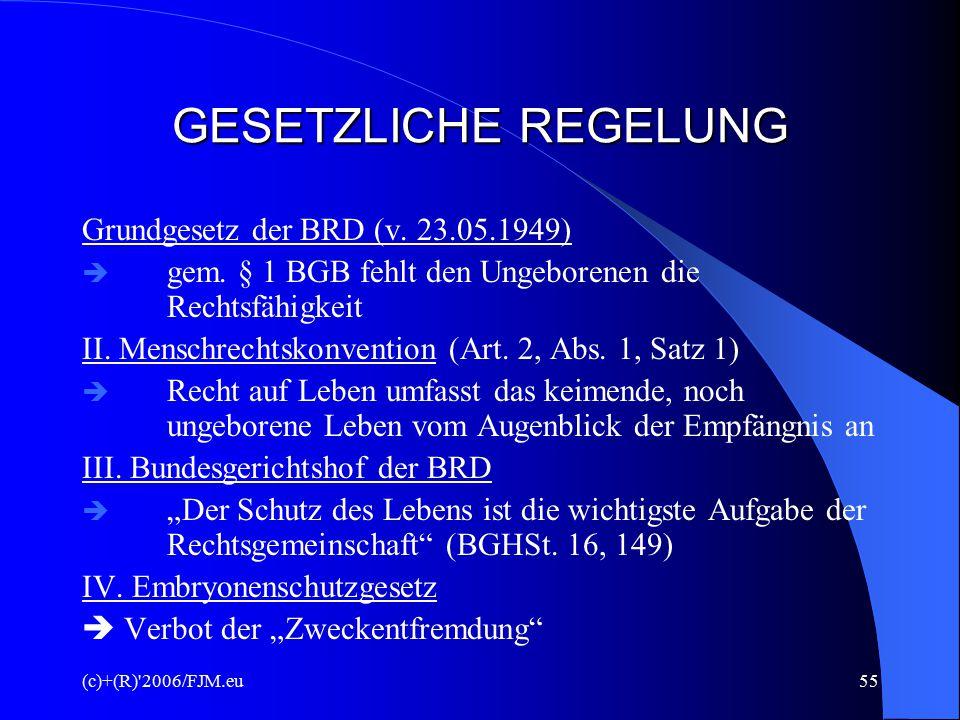 (c)+(R) 2006/FJM.eu54 - - - Konfliktsituation - - - Rechte und Pflichten des Arztes Ängste und Ansprüche der Eltern Lebensrecht des Ungeborenen Forderungen der Gesellschaft Rechtsprechung/Gesetzgebung Ethik und Moral (Kirche/Religion)