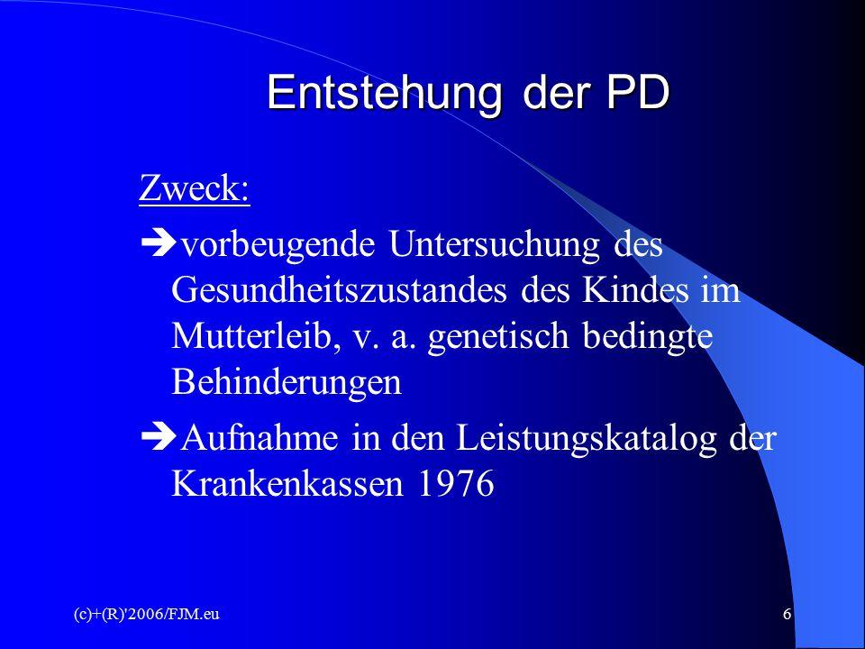 (c)+(R)'2006/FJM.eu5 Themengebiete III. Teil Präimplantationsdiagnostik - Ziel - Befruchtungsmethoden - Gefahren und Risiken - Statistik IV. Teil - Re