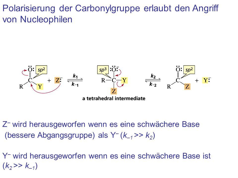 Polarisierung der Carbonylgruppe erlaubt den Angriff von Nucleophilen Z – wird herausgeworfen wenn es eine schwächere Base (bessere Abgangsgruppe) als