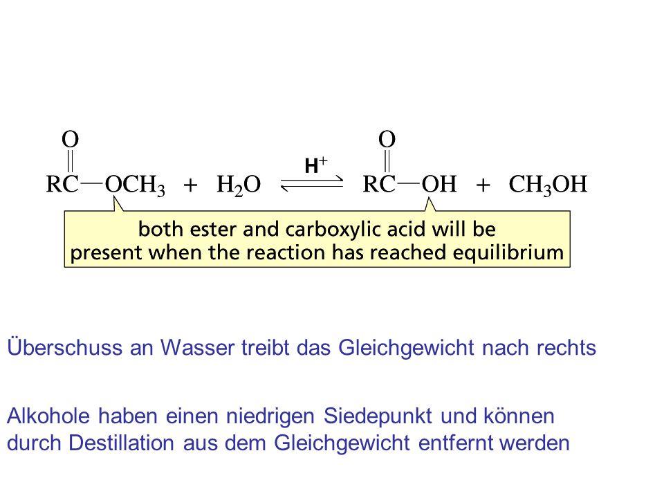 Überschuss an Wasser treibt das Gleichgewicht nach rechts Alkohole haben einen niedrigen Siedepunkt und können durch Destillation aus dem Gleichgewich