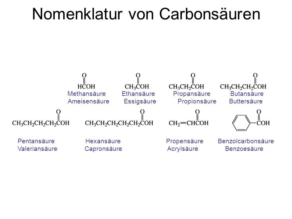 Nomenklatur von Carbonsäuren Methansäure Ethansäure Propansäure Butansäure Ameisensäure Essigsäure Propionsäure Buttersäure Pentansäure Hexansäure Pro