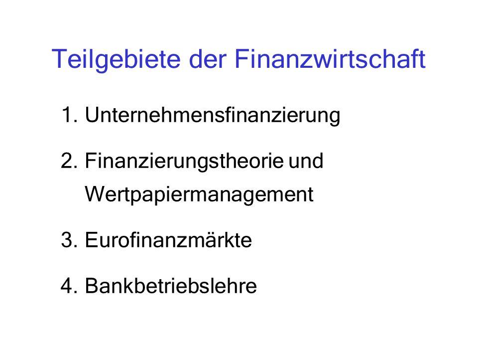 Finanzierung als Schwerpunktfach (8 WS) KS I Unternehmensfinanzierung KS III Eurofinanzmärkte KS II Wertpapiermanagement IK I Grundzüge Finanzwirtschaft 1.