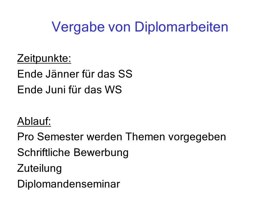 Vergabe von Diplomarbeiten Zeitpunkte: Ende Jänner für das SS Ende Juni für das WS Ablauf: Pro Semester werden Themen vorgegeben Schriftliche Bewerbun