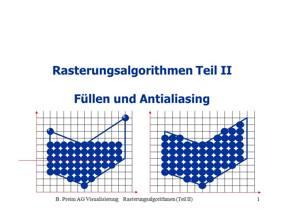 B. Preim AG Visualisierung Rasterungsalgorithmen (Teil II)1 Rasterungsalgorithmen Teil II Füllen und Antialiasing A D E F