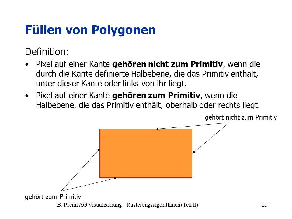 B. Preim AG Visualisierung Rasterungsalgorithmen (Teil II)11 Definition: Pixel auf einer Kante gehören nicht zum Primitiv, wenn die durch die Kante de