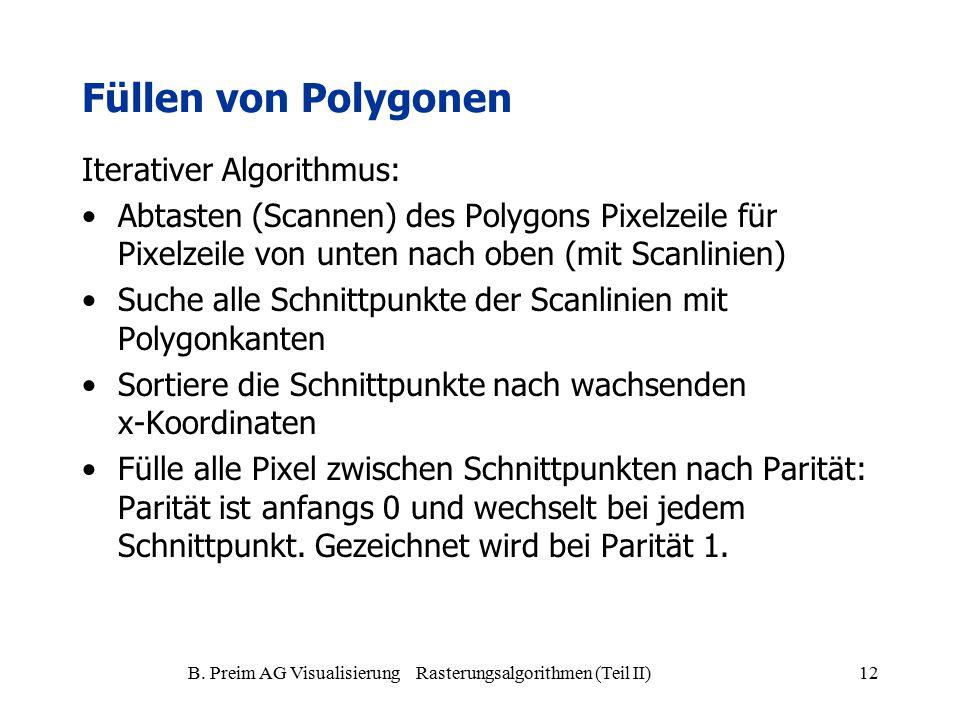B. Preim AG Visualisierung Rasterungsalgorithmen (Teil II)12 Füllen von Polygonen Iterativer Algorithmus: Abtasten (Scannen) des Polygons Pixelzeile f