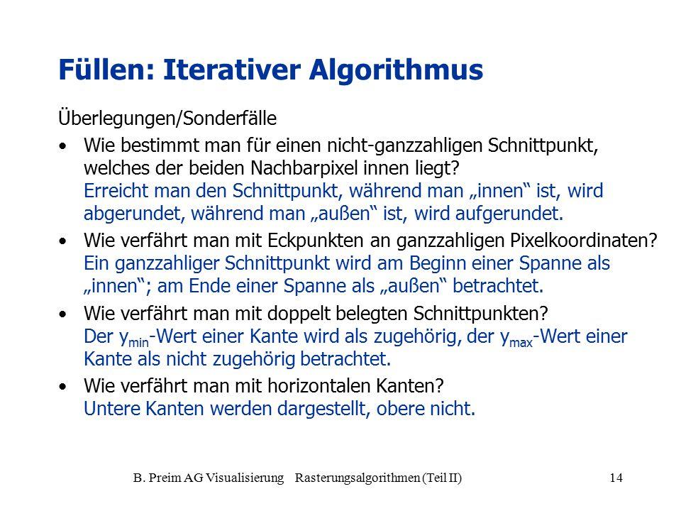 B. Preim AG Visualisierung Rasterungsalgorithmen (Teil II)14 Überlegungen/Sonderfälle Wie bestimmt man für einen nicht-ganzzahligen Schnittpunkt, welc