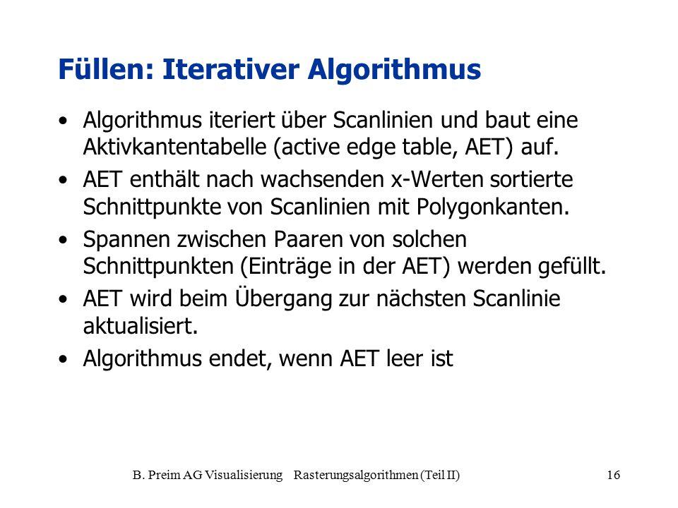 B. Preim AG Visualisierung Rasterungsalgorithmen (Teil II)16 Algorithmus iteriert über Scanlinien und baut eine Aktivkantentabelle (active edge table,