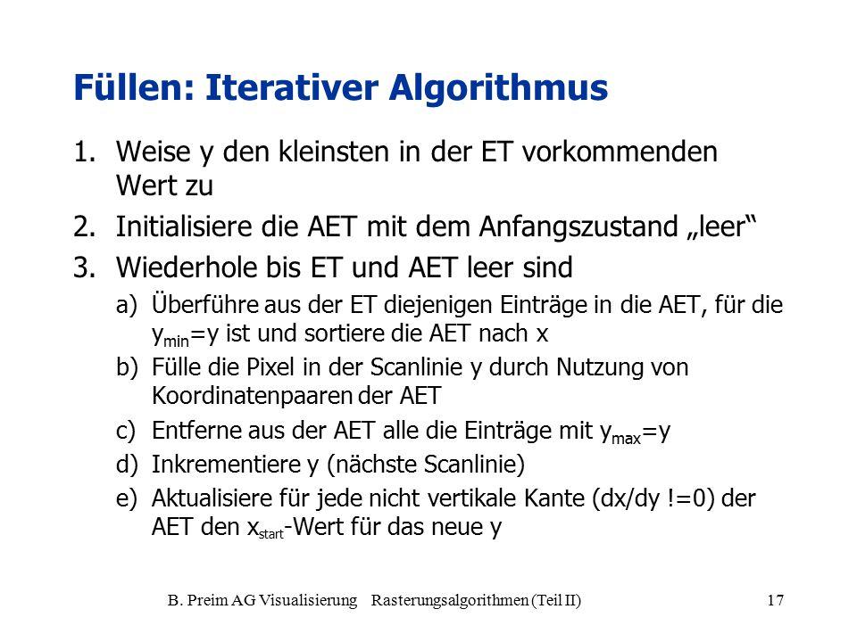 B. Preim AG Visualisierung Rasterungsalgorithmen (Teil II)17 1.Weise y den kleinsten in der ET vorkommenden Wert zu 2.Initialisiere die AET mit dem An