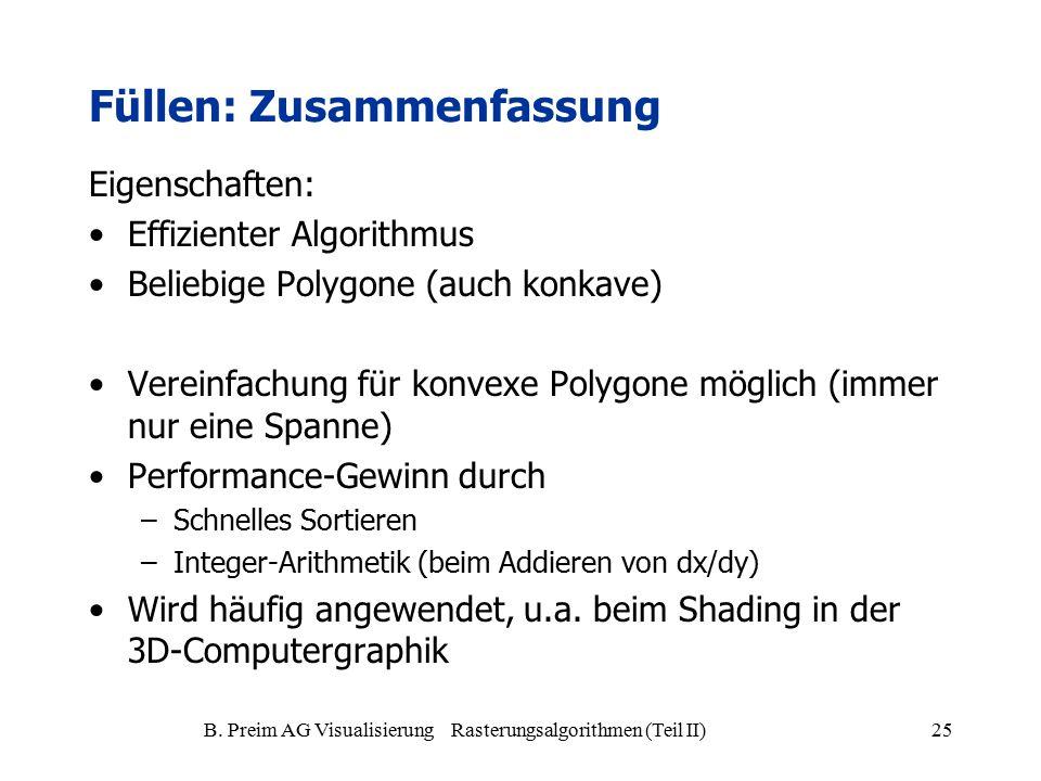 B. Preim AG Visualisierung Rasterungsalgorithmen (Teil II)25 Füllen: Zusammenfassung Eigenschaften: Effizienter Algorithmus Beliebige Polygone (auch k