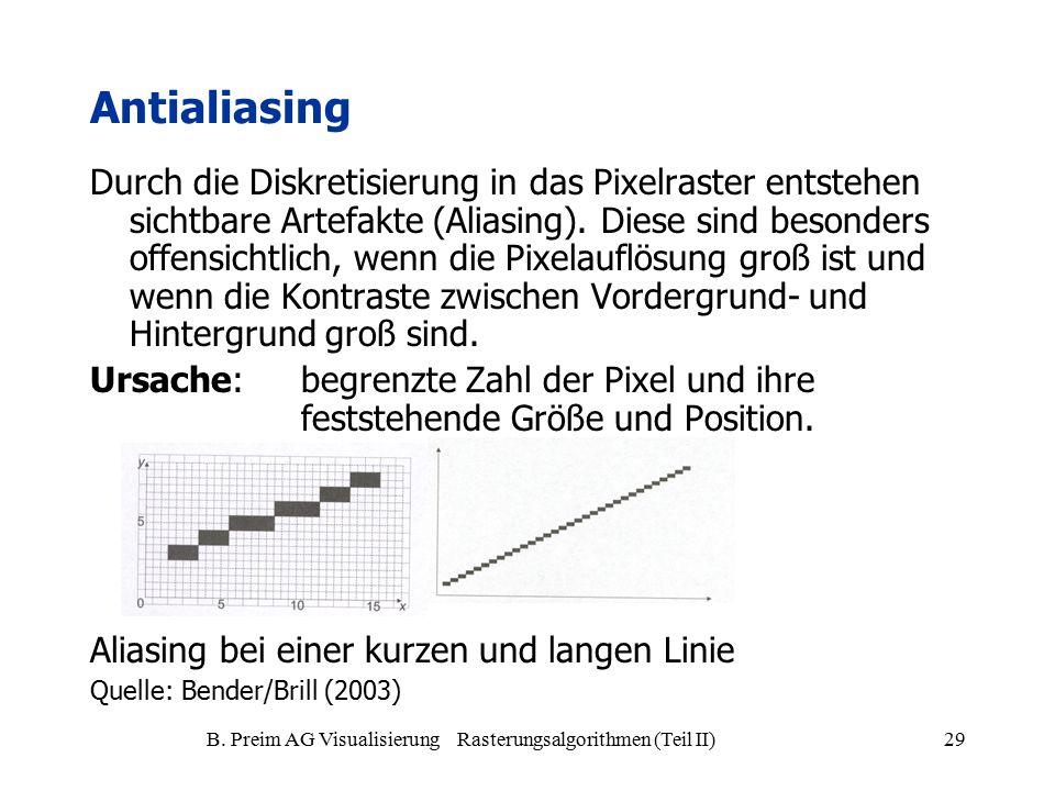 B. Preim AG Visualisierung Rasterungsalgorithmen (Teil II)29 Antialiasing Durch die Diskretisierung in das Pixelraster entstehen sichtbare Artefakte (