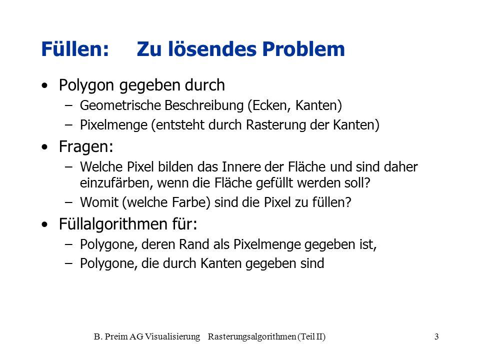 B. Preim AG Visualisierung Rasterungsalgorithmen (Teil II)3 Füllen:Zu lösendes Problem Polygon gegeben durch –Geometrische Beschreibung (Ecken, Kanten