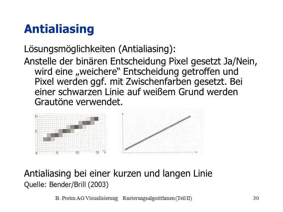 B. Preim AG Visualisierung Rasterungsalgorithmen (Teil II)30 Antialiasing Lösungsmöglichkeiten (Antialiasing): Anstelle der binären Entscheidung Pixel