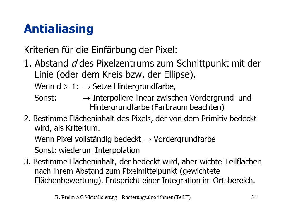 B. Preim AG Visualisierung Rasterungsalgorithmen (Teil II)31 Antialiasing Kriterien für die Einfärbung der Pixel: 1. Abstand d des Pixelzentrums zum S