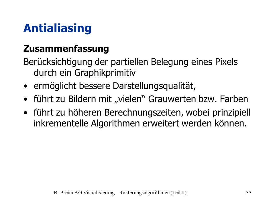 B. Preim AG Visualisierung Rasterungsalgorithmen (Teil II)33 Antialiasing Zusammenfassung Berücksichtigung der partiellen Belegung eines Pixels durch
