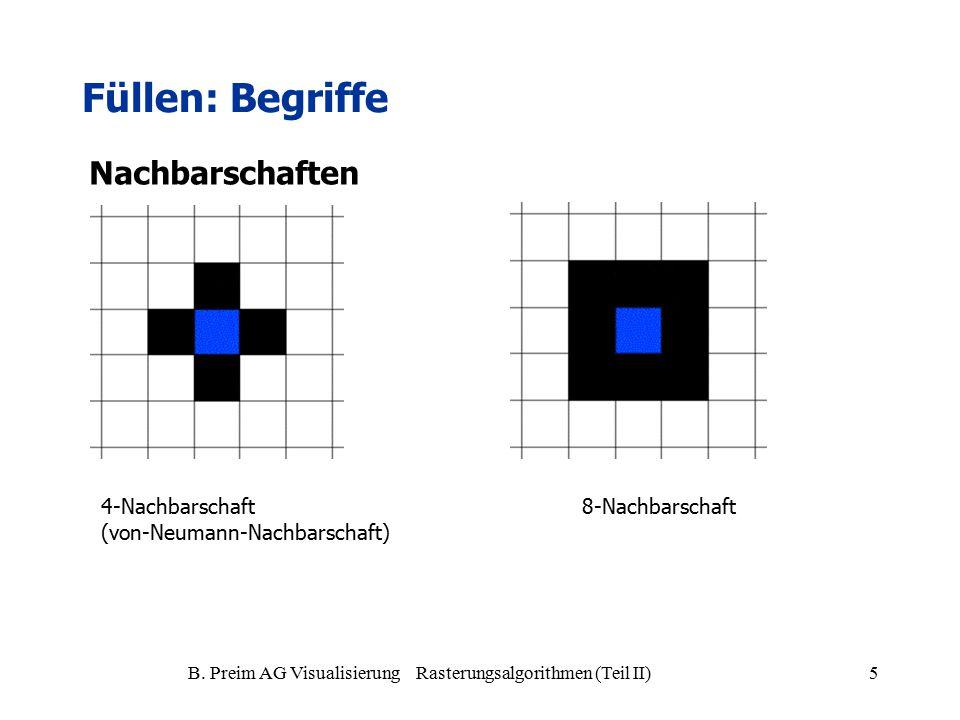 B. Preim AG Visualisierung Rasterungsalgorithmen (Teil II)5 Füllen: Begriffe 4-Nachbarschaft (von-Neumann-Nachbarschaft) 8-Nachbarschaft Nachbarschaft