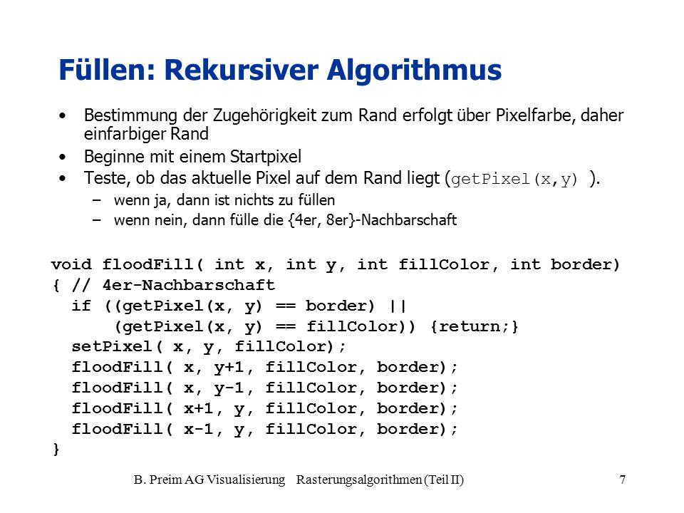 B. Preim AG Visualisierung Rasterungsalgorithmen (Teil II)7 Füllen: Rekursiver Algorithmus Bestimmung der Zugehörigkeit zum Rand erfolgt über Pixelfar