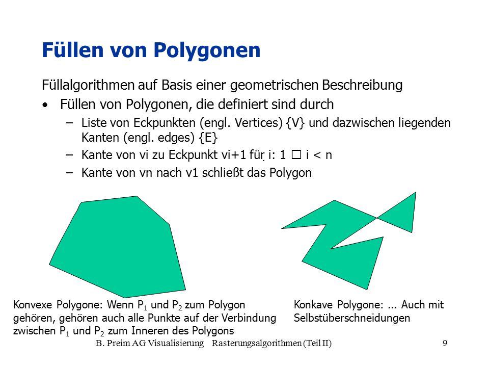 B. Preim AG Visualisierung Rasterungsalgorithmen (Teil II)9 Füllen von Polygonen Füllalgorithmen auf Basis einer geometrischen Beschreibung Füllen von
