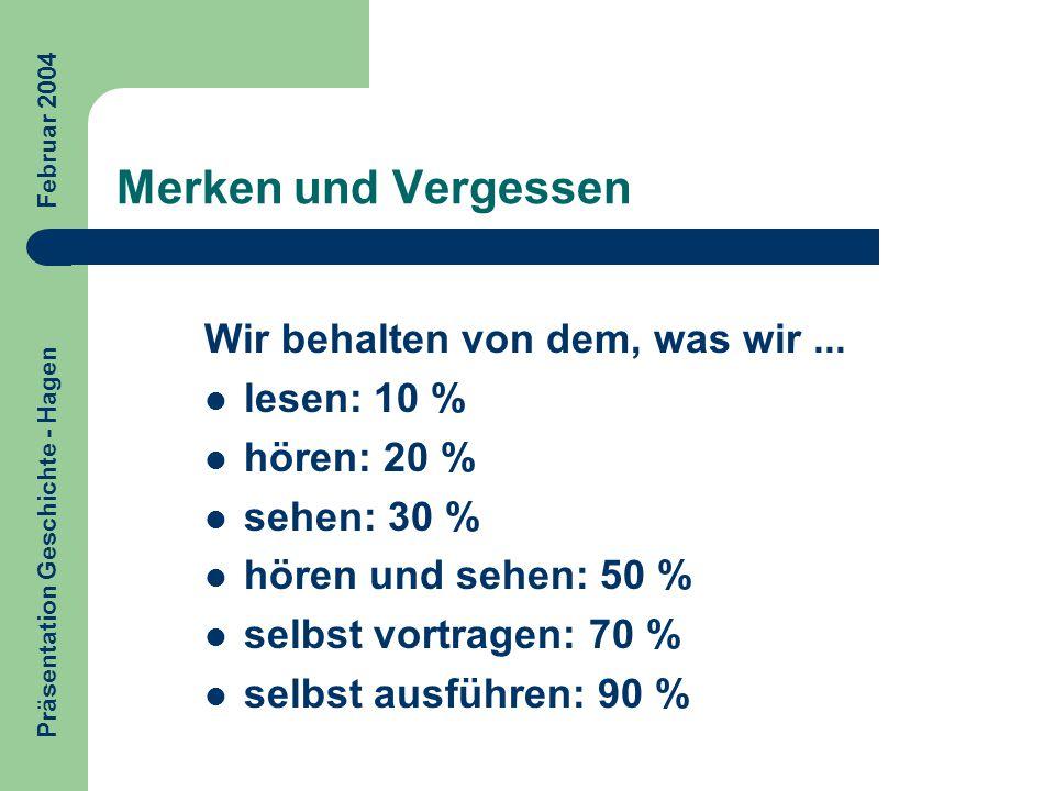 Merken und Vergessen Wir behalten von dem, was wir... lesen: 10 % hören: 20 % sehen: 30 % hören und sehen: 50 % selbst vortragen: 70 % selbst ausführe