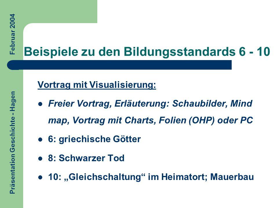 Beispiele zu den Bildungsstandards 6 - 10 Vortrag mit Visualisierung: Freier Vortrag, Erläuterung: Schaubilder, Mind map, Vortrag mit Charts, Folien (