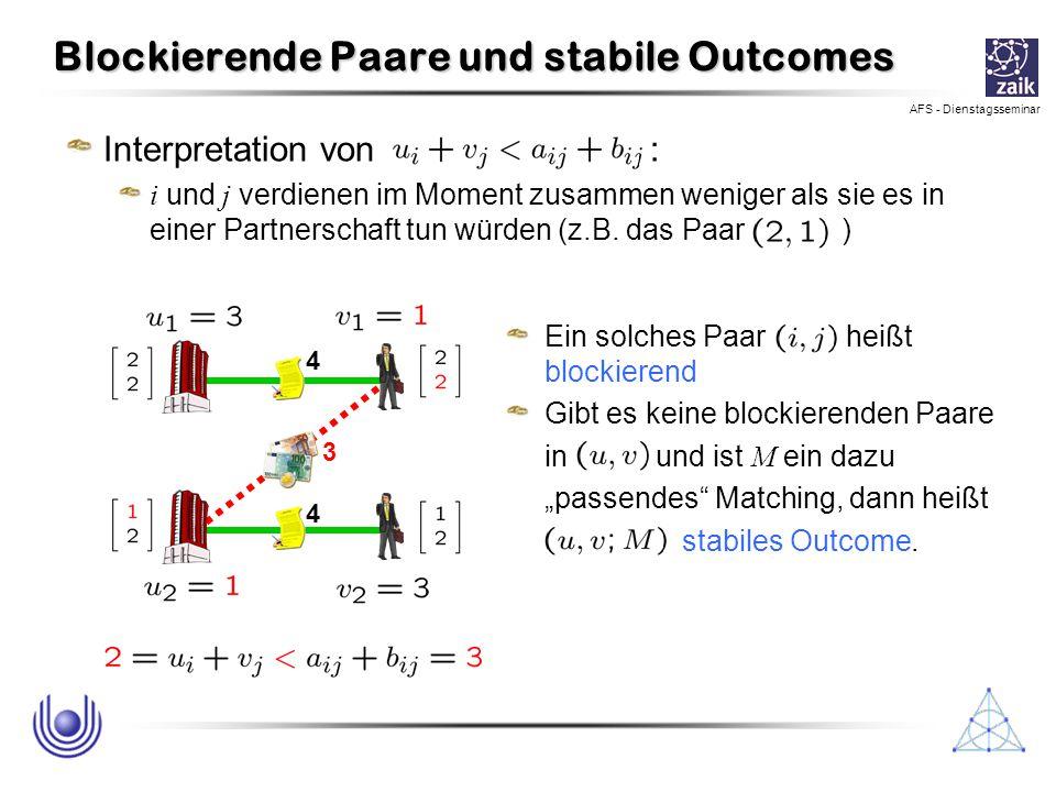 AFS - Dienstagsseminar Blockierende Paare und stabile Outcomes Interpretation von : i und j verdienen im Moment zusammen weniger als sie es in einer P