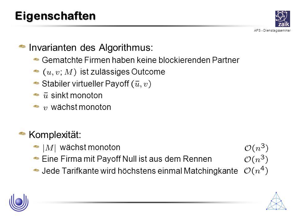 AFS - Dienstagsseminar Eigenschaften Invarianten des Algorithmus: Gematchte Firmen haben keine blockierenden Partner ist zulässiges Outcome Stabiler v