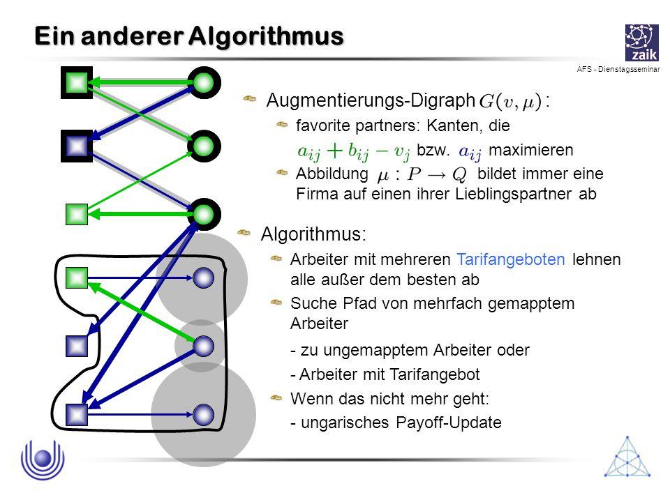 AFS - Dienstagsseminar Ein anderer Algorithmus Augmentierungs-Digraph : favorite partners: Kanten, die bzw. maximieren Abbildung bildet immer eine Fir