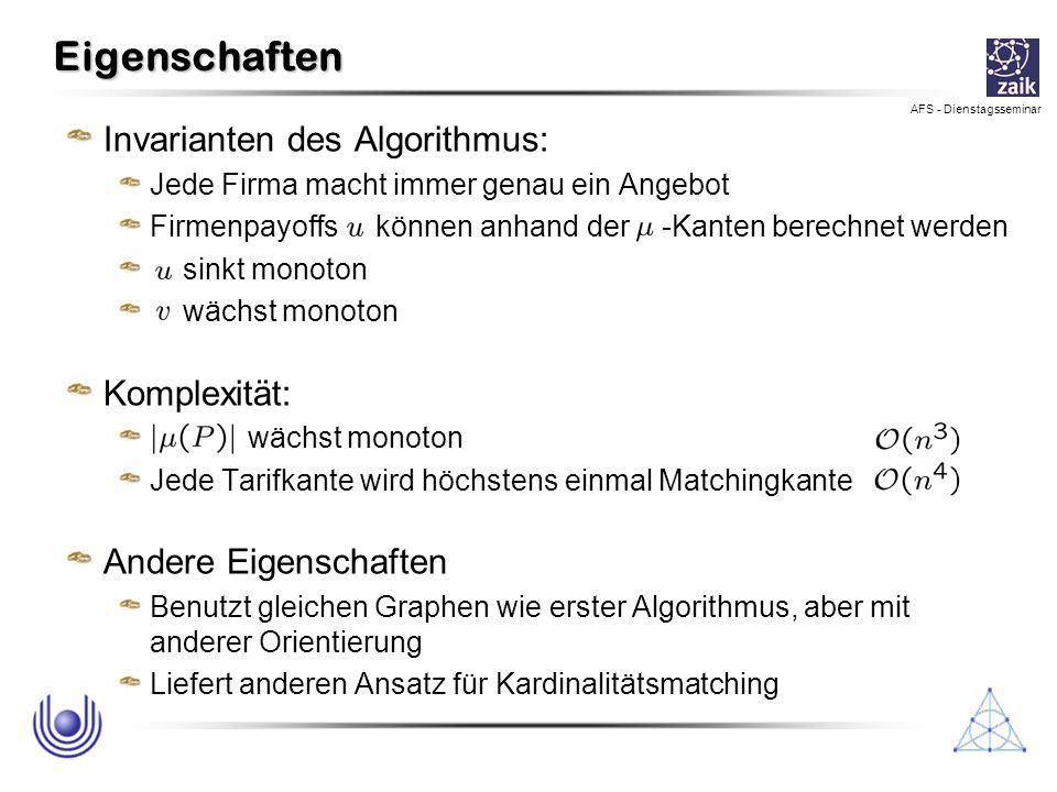 AFS - Dienstagsseminar Eigenschaften Invarianten des Algorithmus: Jede Firma macht immer genau ein Angebot Firmenpayoffs können anhand der -Kanten ber