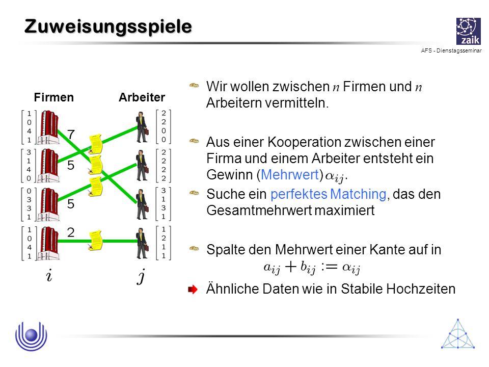 AFS - Dienstagsseminar Ein anderer Algorithmus Augmentierungs-Digraph : favorite partners: Kanten, die bzw.