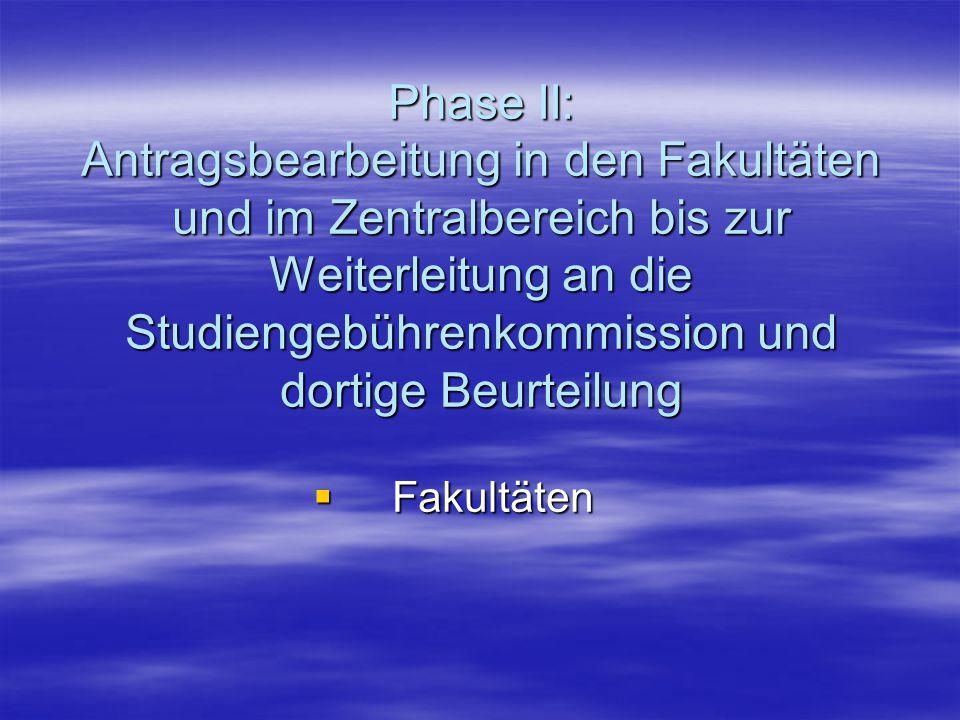 Empfehlungen zu Phase II -Fakultäten-