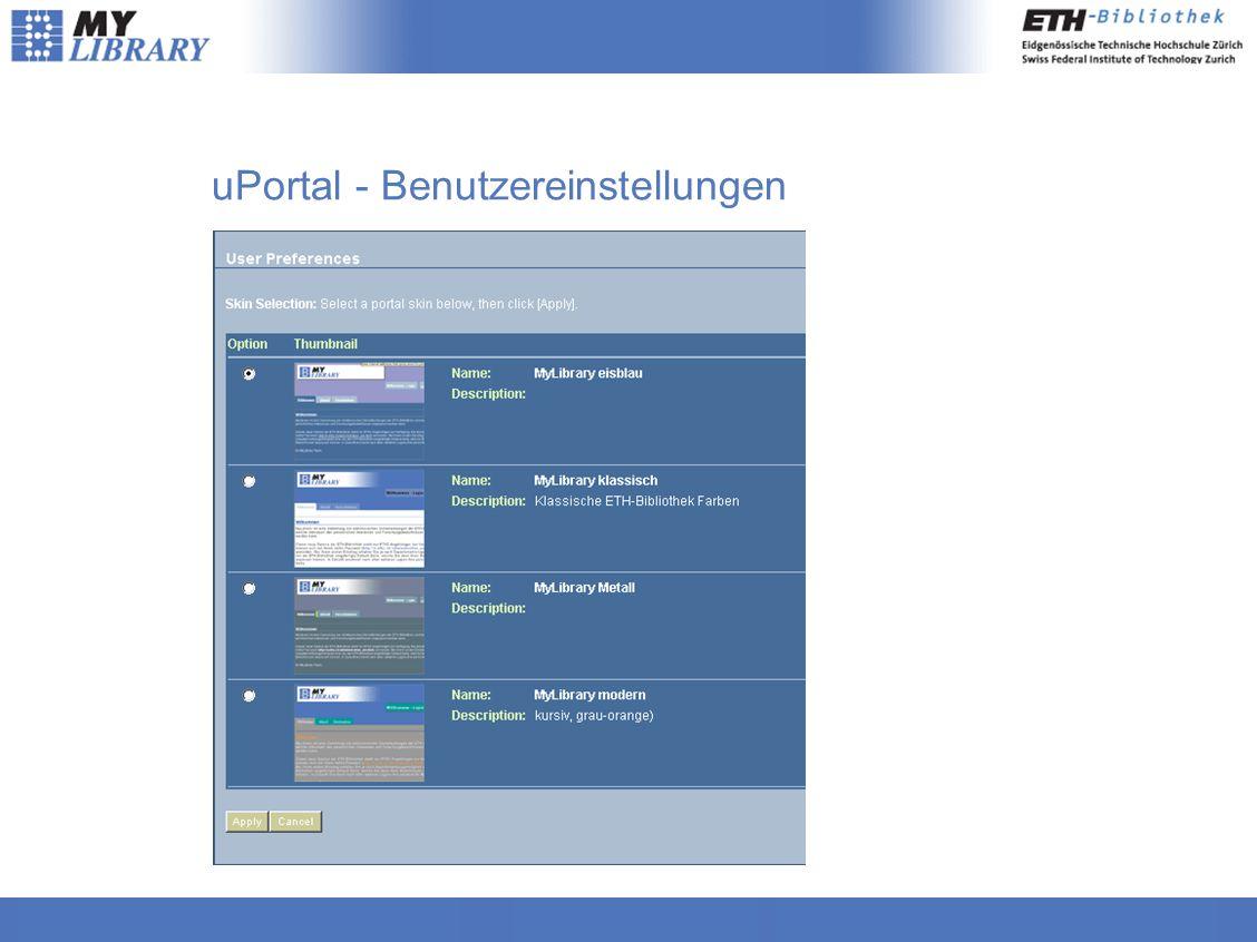 uPortal - Benutzereinstellungen