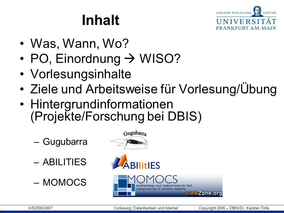 WS2006/2007 Vorlesung: Datenbanken und Internet Copyright 2006 – DBIS/Dr. Karsten Tolle Inhalt Was, Wann, Wo? PO, Einordnung  WISO? Vorlesungsinhalte